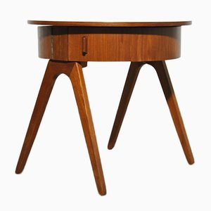 Round Teak Side Table or Sewing Table, Denmark, 1950s or 1960s
