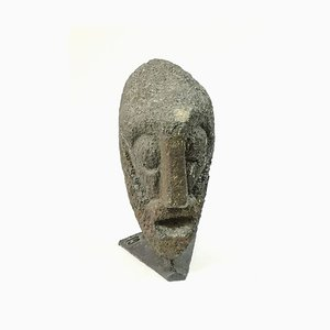 Brutalist Carved Stone Head by Jeno Murai, 1970s