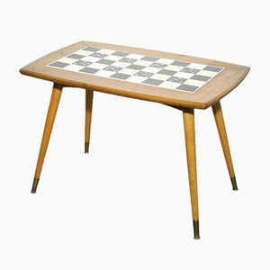 Mid-Century Wooden Side Table with Inlaid Tiles, Switzerland, 1960s