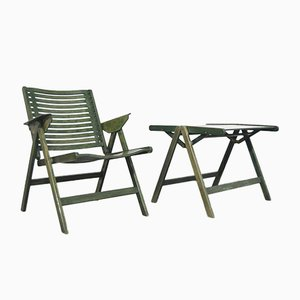Vintage Rex Lounge Chair and Coffee Table by Niko Kralj for Stol, Slovenia, 1952, Set of 2