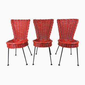 Rattan and Metal Chairs, 1950, Set of 3