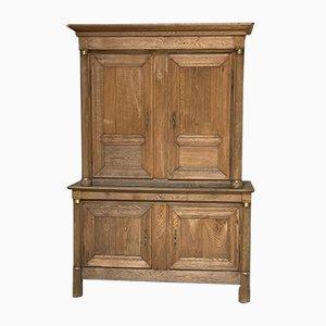 French Empire Period Bleached Oak Linen Press