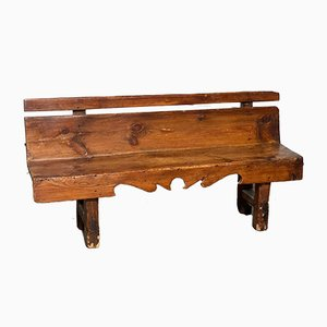 French Rustic Pine Hall Bench