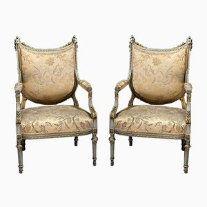 French Upholstered Armchairs, Set of 2