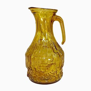 Mid-Century Textured Pressed Amber Glass Pitcher or Vase by Empoli, 1970s