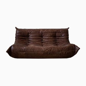 Vintage Kentucky Brown Leather Togo Sofa by Michel Ducaroy for Ligne Roset, 1970s