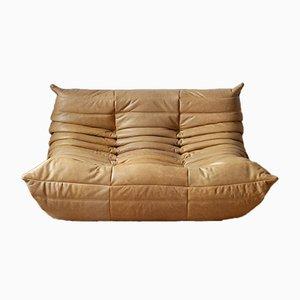 Camel Brown Leather Togo Sofa by Michel Ducaroy for Ligne Roset, 1990s