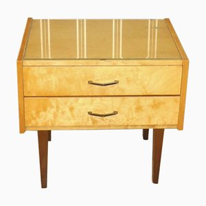 Light Nightstand with 2 Drawers and Glass Top, 1960s