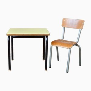 Vintage Children's Desk and Chair, Set of 2