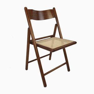 Italian Folding Chairs in Rattan, 1980s, Set of 6