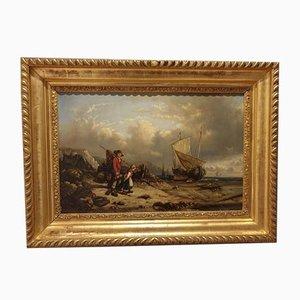 Flemish Marina, 1853, Oil on Board