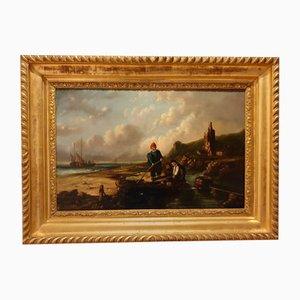 Oil on Panel, Flemish Navy, Signed Ferdinand, 1853