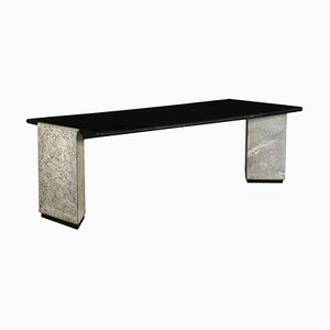 Granite Lacquered Wood and Leather Desk, Italy, 1980s