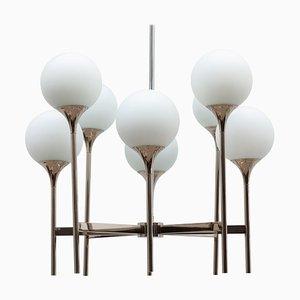 Trumpet Opaline Glass Globes Chandelier by Gaetano Sciolari, Italy, 1970s