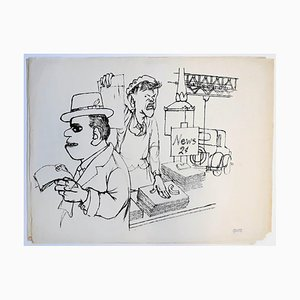 George Grosz, News Vendor, New York, 1932, China Ink Drawing on Paper