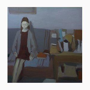 Igor Smekalov, Interior with Girl and Still Life, Blue Oil, 2009