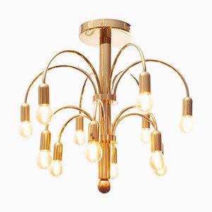 12-Burner Brass Ceiling Lamp by Geatano Sciolari for Boulanger