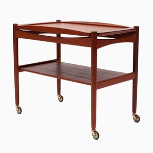 Danish Teak Trolley with Detachable Tray by Poul Hundevad