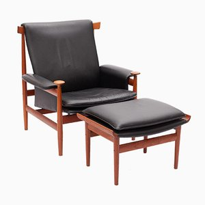 Bwana Chair with Ottoman by Finn Juhl for France & Søn, Set of 2