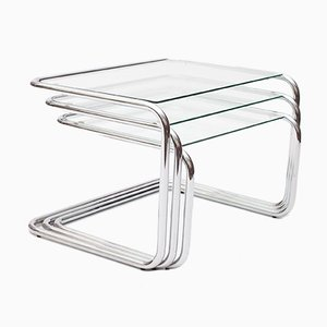 Chrome Nesting Tables by by Marcel Breuer, 1970s, Set of 3