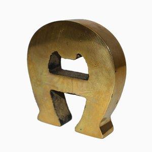 Lettera A in ottone di Etienne Aigner, anni '60