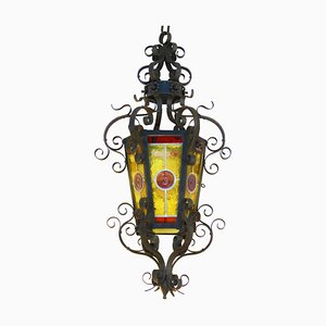 Large French Arts and Crafts Wrought Iron Lantern, 1900s