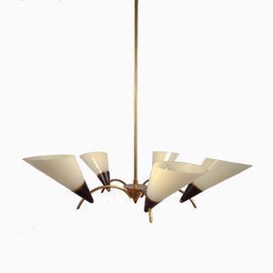 Mid-Century Ivory & Glass Ceiling Lamp, 1950s