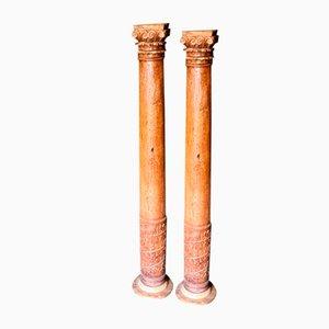 Antique Oak Columns, 1800s, Set of 2