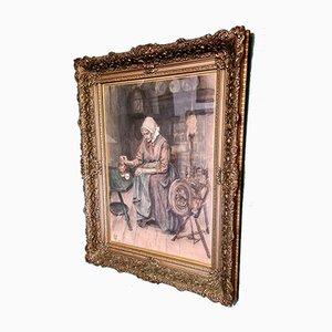 Eduard Frankfort, Old Woman, Gouache, 1898