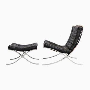 Sillón y otomana modelo MR90 Barcelona de Ludwig Mies Van Der Rohe para Knoll Inc. / Knoll International. Juego de 2