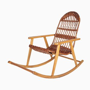 Mid-Century Wicker Rocking Chair from Uluv, 1960s