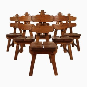 Spanish Brutalist Oak Dining Chairs, 1970, Set of 6