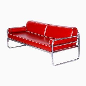 Czechoslovakian Bauhaus Red Tubular Chrome Sofa by Hynek Gottwald, 1930s