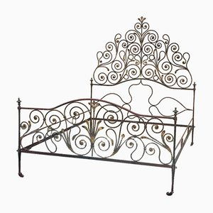 Large Burgundy & Gold Iron Bed, 1820s