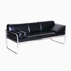 Czechoslovakian Bauhaus Black Tubular Chrome Sofa by Hynek Gottwald, 1930s