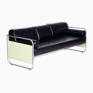 Czechoslovakian Bauhaus Leather and Chrome Sofa by Vichr a Spol, 1930s