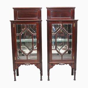 Early 20th Century Mahogany Display Cabinets, Set of 2