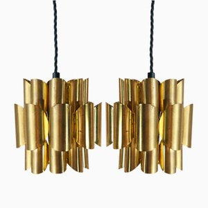 Brass Pendant Lamps by Werner Schou for Coronell Elektro, Set of 2