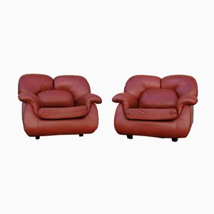 Brown Leather Armchairs, 1970s, Set of 2