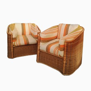 Wicker and Bamboo Armchairs in the Style of Vivai Del Sud, 1960s, Set of 2