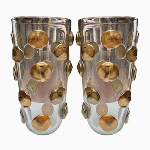 Gold Murano Glass Vases from Fratelli Toso, 1980s, Set of 2