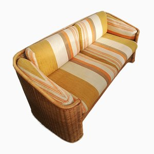 Wicker and Bamboo Sofa in the Style of Vivai Del Sud, 1960s