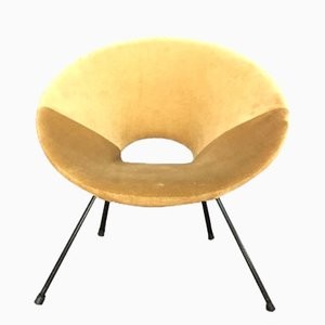 Round Italian Beige Velvet Side Chair, 1959