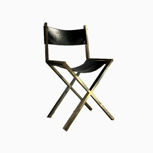 French Gilded Brass Side Chair by Angolo or Metalarte, 1970s