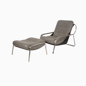 Maggiolina Leather Chair & Ottoman by Marco Zanuso for Zanotta, Set of 2