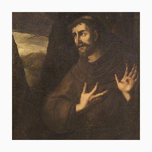 Antique Italian Painting, Saint Francis, 18th-Century