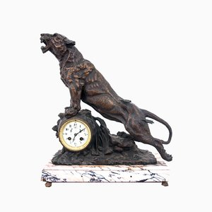 Roaring of the Lion Mantel Clock in Bronze and Marble, France, 1880s