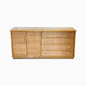 Credenza in Bamboo and Wicker, 1970s