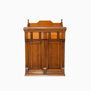 Antique English Walnut Sewing Machine Cabinet or Machinist Console, 1920s