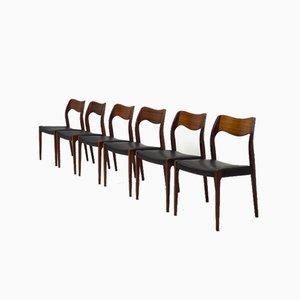 Model 71 Dining Chairs by Arne Hovmand-Olsen for J. L. Møllers, Set of 6